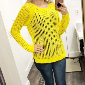 a.n.a yellow knit sweater size Large